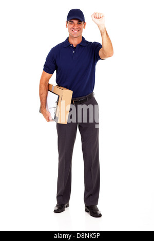 young delivery guy with parcel and knocking - Stock Photo