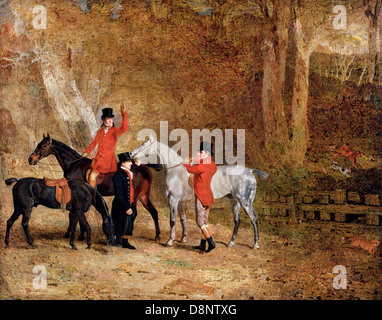 Benjamin Marshall, Foxhunting Scene 1808 Oil on canvas. Yale Center for British Art, New Haven, Connecticut, USA. - Stock Photo