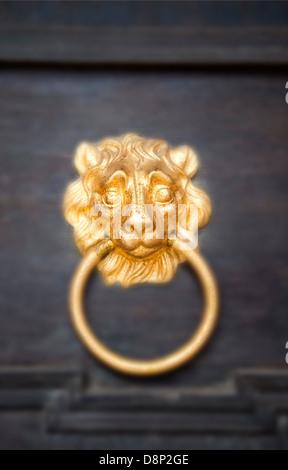 Nassau lion as door knocker, Schloss Weilburg Castle, Weilburg an der Lahn, Hesse, Germany, Europe - Stock Photo