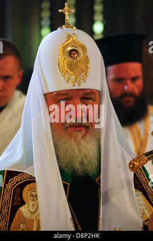 Athens, Greece. 1st June, 2013. Russian Orthodox Patriarch KIRILL I attends a Liturgy at the church of Saint Panteleimonas - Stock Photo