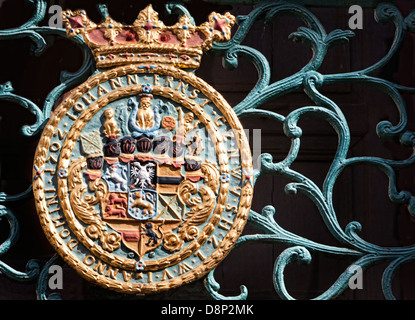 Coat of arms, Schloss Weilburg Castle, Weilburg an der Lahn, Hesse, Germany, Europe - Stock Photo