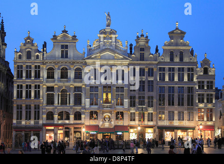 Belgium; Brussels; Grand Place, night, people, - Stock Photo