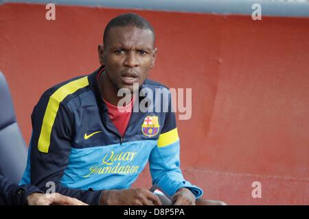 Barcelona, Spain. 1st June, 2013. Final day of 2012-13 La Liga season.   Picture shows Eric Abidal at Brench before - Stock Photo