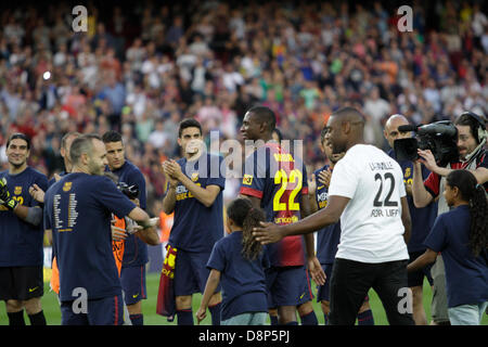 Barcelona, Spain. 1st June, 2013. Final day of 2012-13 La Liga season.   Picture shows Abidal and with his cousin - Stock Photo