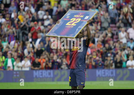 Barcelona, Spain. 1st June, 2013. Final day of 2012-13 La Liga season.   Picture shows Abidal  during Abidal's farewell - Stock Photo