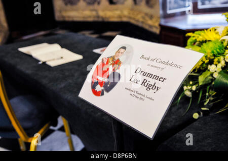 Belfast, Northern Ireland. 2nd June 2013 A book of Condolences is opened for Drummer Lee Rigby. Credit:  Stephen - Stock Photo