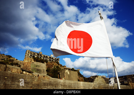 Japanese abandoned island of Gunkanjima - Stock Photo