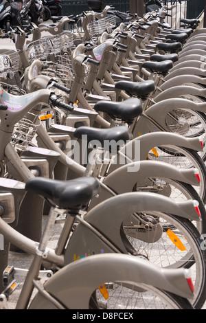'Boris Bikes' (Velibs) in Paris, France - Stock Photo