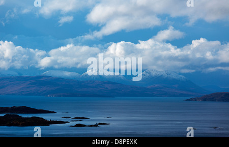 Snow and clouds sitting on the Skye Cuillin Ridge Inner Hebrides Scottish Highlands UK - Stock Photo