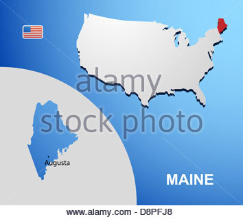Vector Color Map Of Maine State Usa Stock Photo Royalty Free - Maine state usa map