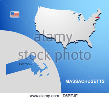 machusetts on usa map with map of the state stock po