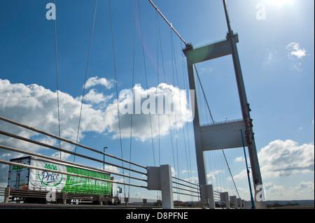 Asda delivery lorry crossing the original Severn Bridge into England - Stock Photo