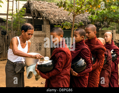 Buddhist monks collecting alms bowls of food in the morning from villagers near Bagan Burma Myanmar - Stock Photo