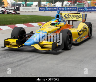Detroit, Michigan, USA. 2nd June 2013. Mike Conway (18) on the course during Race 2 at the Raceway at Belle Isle - Stock Photo