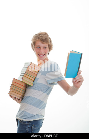 library book student with stack of books, love of books concept - Stock Photo