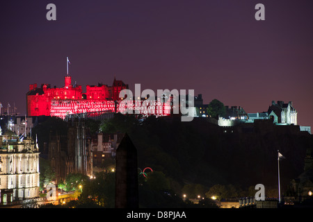 Edinburgh Castle lit during the International Military Tattoo Performance. - Stock Photo