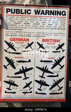 Public warning sign to identify British and German planes in ww11 - Stock Photo