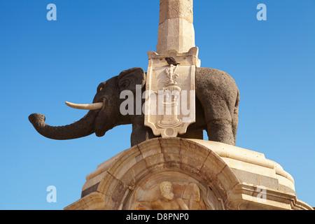 Detail of the the elephant fountain (lava elephant and Egyptian obelisk), Piazza Duomo, Catania, Sicily, Italy - Stock Photo
