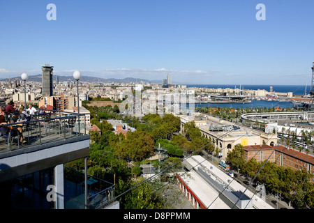 Aerial View, Rambla de Mar, Port Vell, Port, Barcelona, Spain - Stock Photo