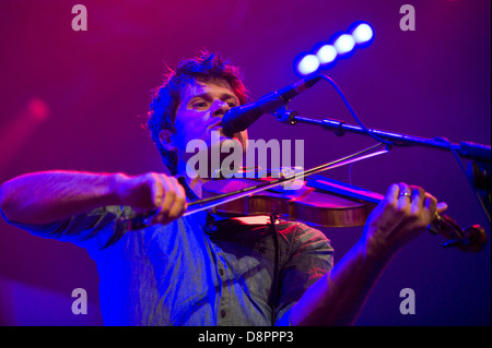 Seth Lakeman playing violin with his band on stage at Hay Festival 2013 Hay on Wye Powys Wales UK - Stock Photo