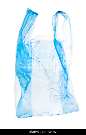 blue plastic bag isolated on white background with clipping path included