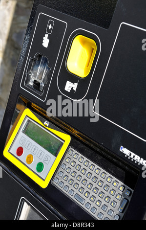 Pay and Display Parking meter, restricted parking zone Bristol UK requires car registration number before dispensing - Stock Photo