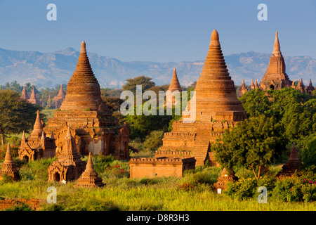 Some of the 4000 ancient temples on the plain of Bagan (or Pagan) in Burma (or Myanmar). A UNESCO World Heritage - Stock Photo
