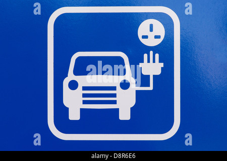 Electric car charging point sign - Stock Photo