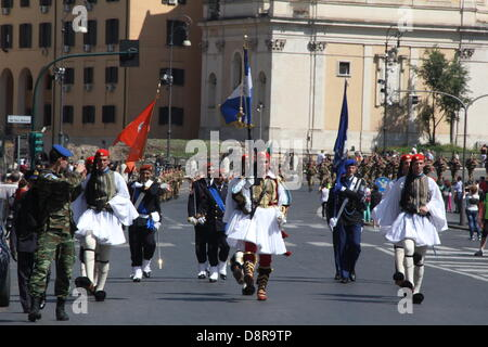 Rome, Italy. Rome, Italy. 2nd June 2013. Soldiers marching at the Italian Republic Day parade in Rome, Italy. . - Stock Photo