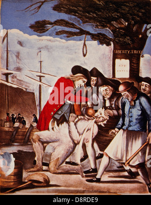 The Bostonians Paying the Excise-man, or Tarring and Feathering, 1774 - Stock Photo