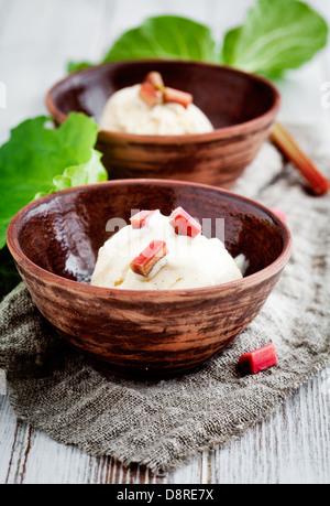 Homemade ice cream with rhubarb and vanilla - Stock Photo