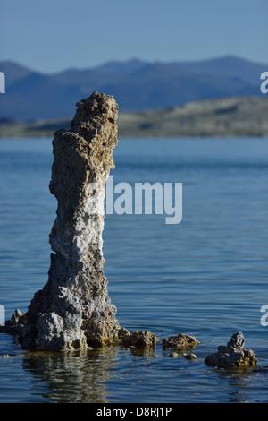 Tufa formations at the south rim of Mono Lake, California - Stock Photo