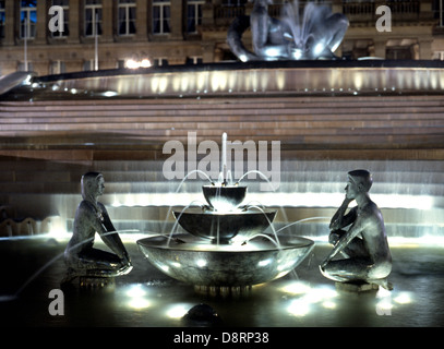 The Lovers fountain outside Council House (with The River fountain to the rear) at night, Victoria Square, Birmingham, - Stock Photo