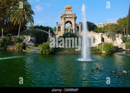 View of fountain in Parc de la Ciutadella, Barcelona - Stock Photo