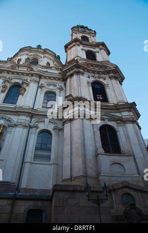 Kostel Sv Mikulas the St Nicholas church Mala Strana district Prague city Czech Republic Europe - Stock Photo