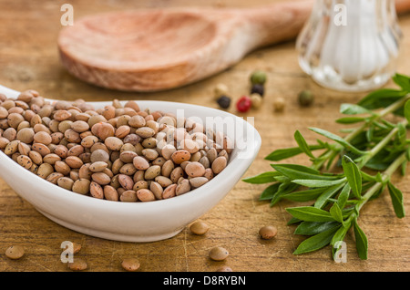 Bowl with red lentils - Stock Photo