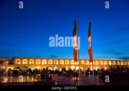 Iran, Isfahan, Imam square, iranian flags - Stock Photo