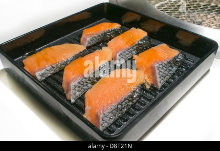 The slice salmon steak for grill - Stock Photo