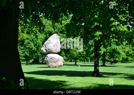 The sculpture 'Rock on Top of Another Rock' by Fischli/Weiss, at the Serpentine Gallery, Kensington Gardens, London. - Stock Photo