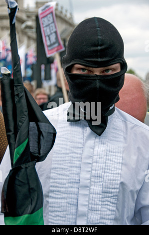 Unite Against Fascism UAF march through central london opposing the BNP  march in Westminster  June 1 2013 - Stock Photo