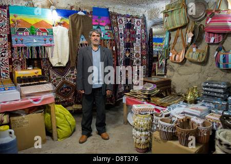 Iran, Azerbaijan region, Kandovan, carpet shop - Stock Photo