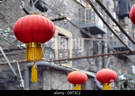Red Chinese lanterns at Tianzifang, Shanghai - Stock Photo