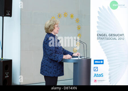 Berlin, Germany. June 4th 2013. Federal State Secretary Maria Böhmer replaces Angela Merkel in the 'StarSocial awards - Stock Photo