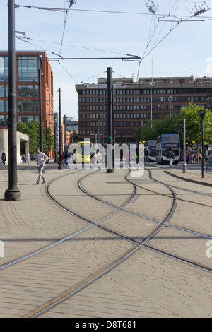 Metrolink track junction near the tram station at  Piccadilly Gardens in Manchester city centre. - Stock Photo