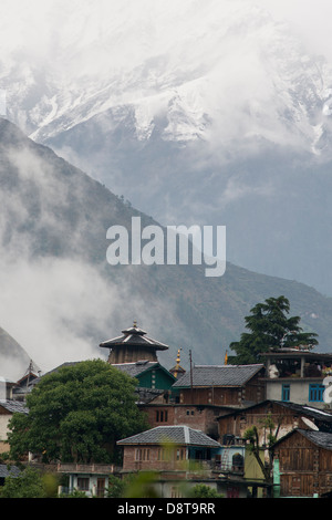The small Himalayan town of Bharmour sits in the Budhil valley of Himachal Pradesh, India - Stock Photo