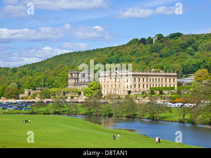 Chatsworth House park with river Derwent parkland and woods Derbyshire, England, UK, GB, EU, Europe - Stock Photo