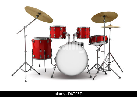 red drum kit isolated on white background - Stock Photo