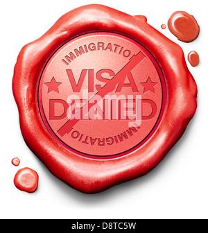 visa denied or refused at border passport control - Stock Photo