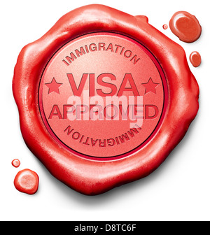 visa approved access granted by immigration passport control at border crossing - Stock Photo