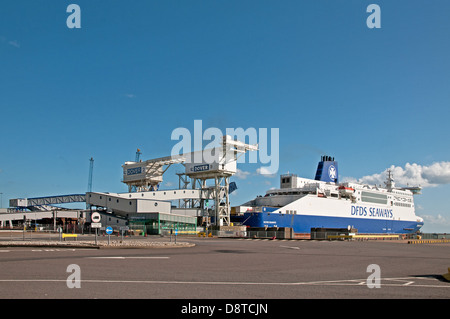 DFDS Seaways channel ferry about to depart from Eastern Docks Dover England to cross the English Channel - Stock Photo
